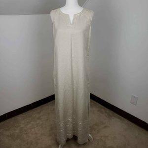 Carole Little Dress Beige Embroidered 10